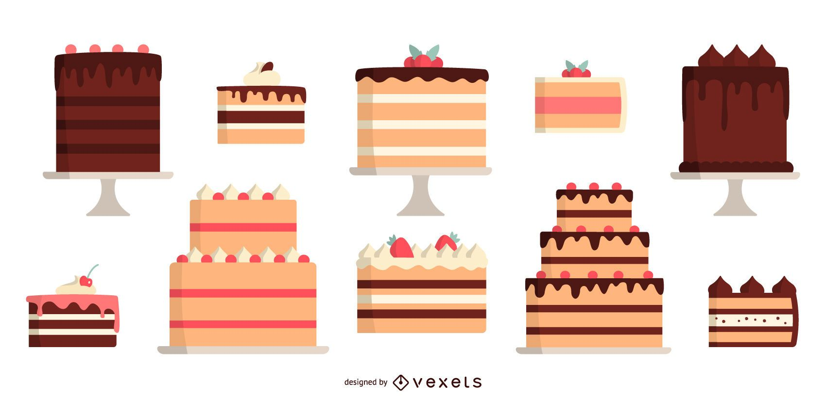 Flat Design Colored Cake Design Pack