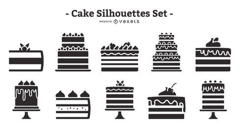 Cake Flat Design Silhouette Pack