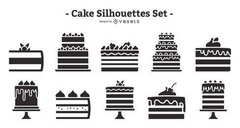Paquete de silueta de diseño plano de pastel