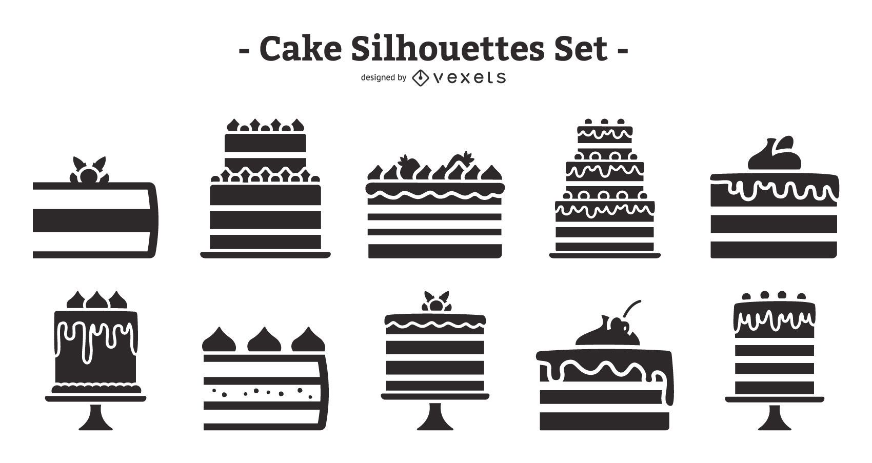Cake Flat Design Silhouette Pack