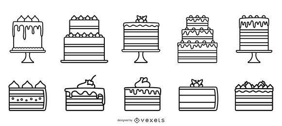 Kuchen Flat Design Stroke Design Pack