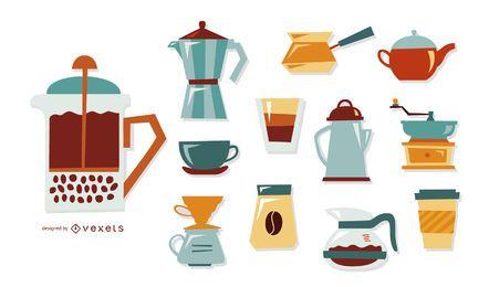 Conjunto de elementos retrô de café