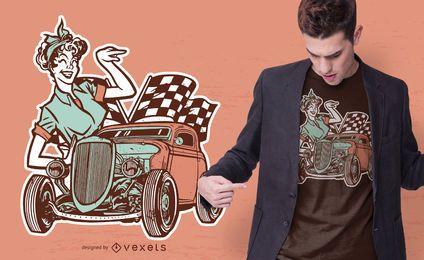 Diseño vintage de camiseta pin-up para niña y automóvil