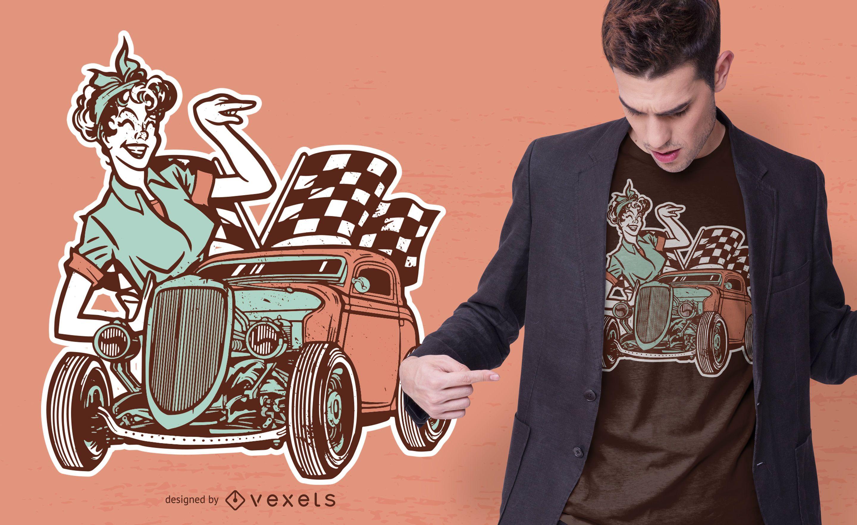 Vintage Pin-Up Girl and Car T-shirt Design