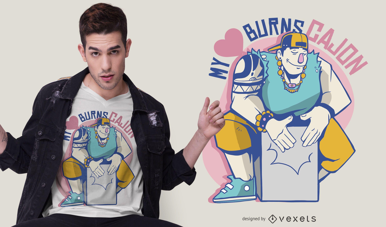 My Heart Burns Cajon T-shirt Design