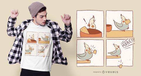 Design de camisetas em quadrinhos Cockatiel