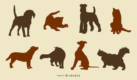 Silhuetas de gatos e cachorros