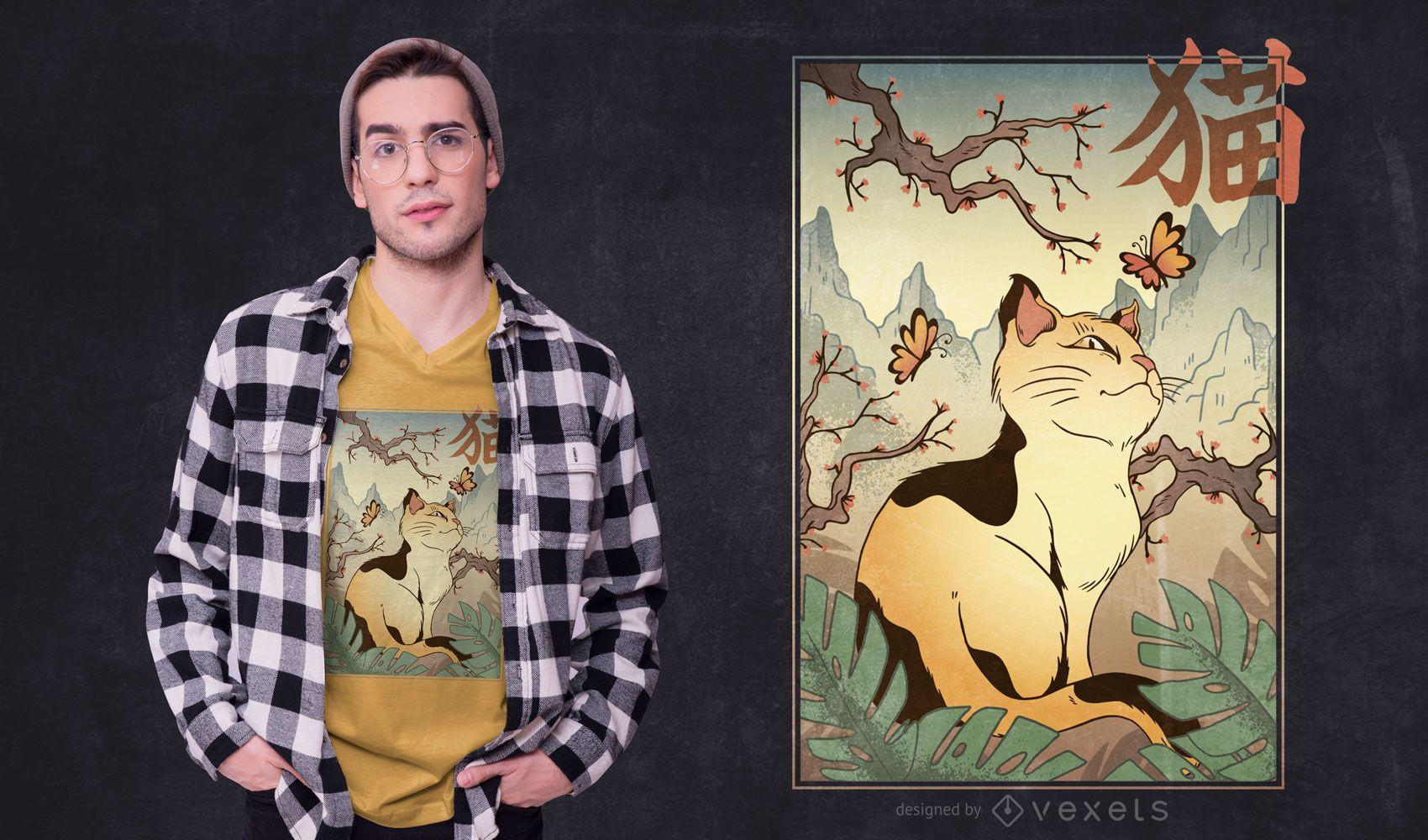 Diseño de camiseta de paisaje de gato de estilo japonés