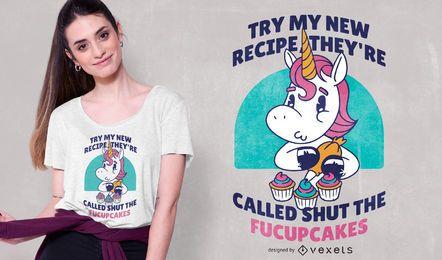 Design engraçado do t-shirt das citações do unicórnio do cupcake
