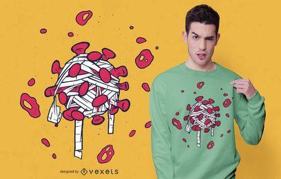 Diseño de camiseta de virus en papel higiénico