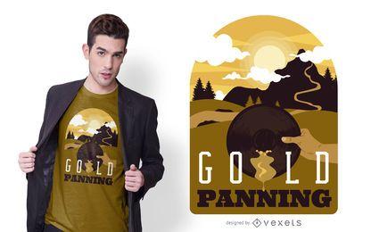 Diseño de camiseta de ilustración panorámica de oro