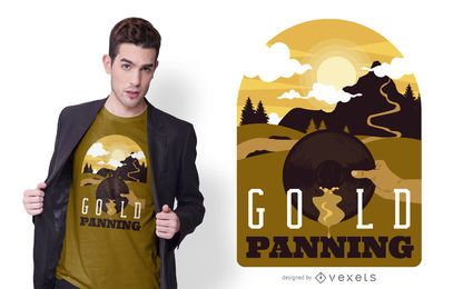 Gold Panning Illustration T-shirt Design