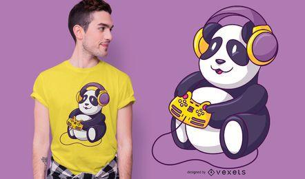 Design de t-shirt de urso panda de jogos