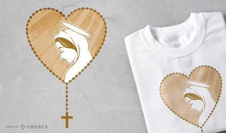 Projeto do t-shirt da Virgem Maria do rosário