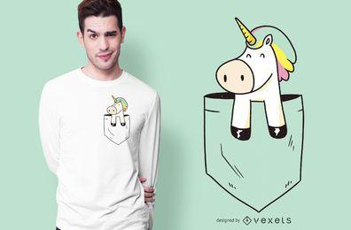 Design de camiseta de unicórnio de bolso