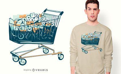 Einkaufswagen mit Toilettenpapier T-Shirt Design