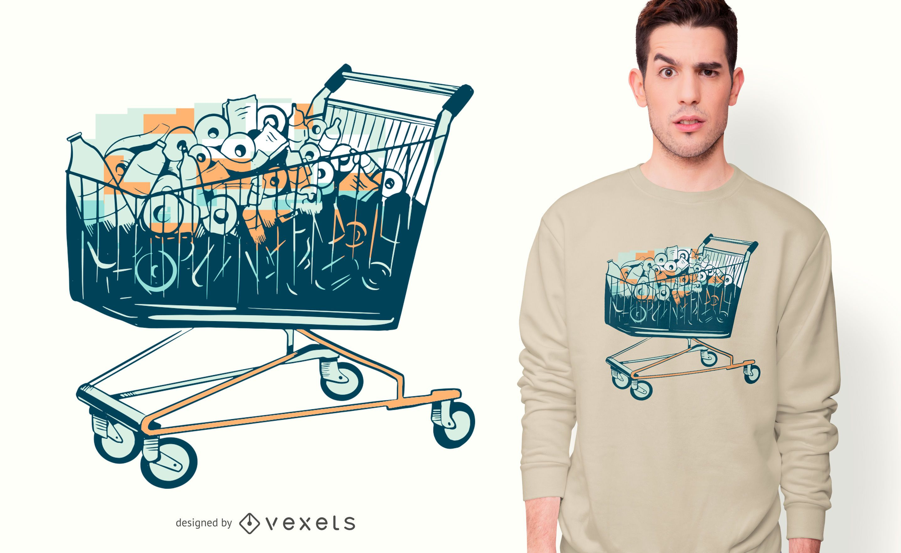 Shopping Cart with Toilet Paper T-shirt Design