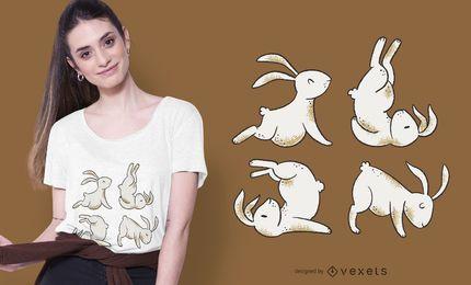 Diseño de camiseta de conejos de yoga