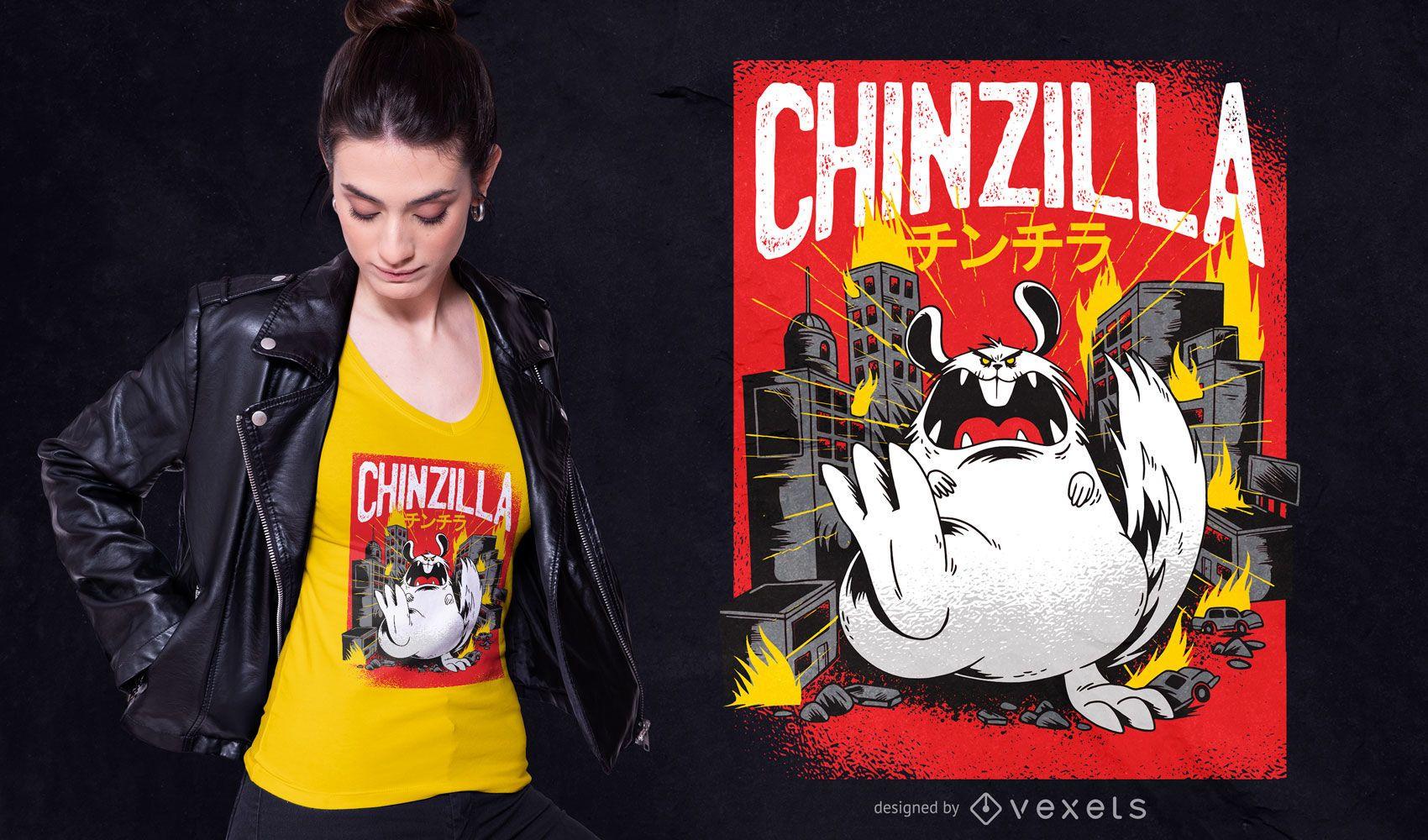 Diseño de camiseta Chinchilla Monster