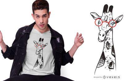 Diseño de camiseta de jirafa con gafas