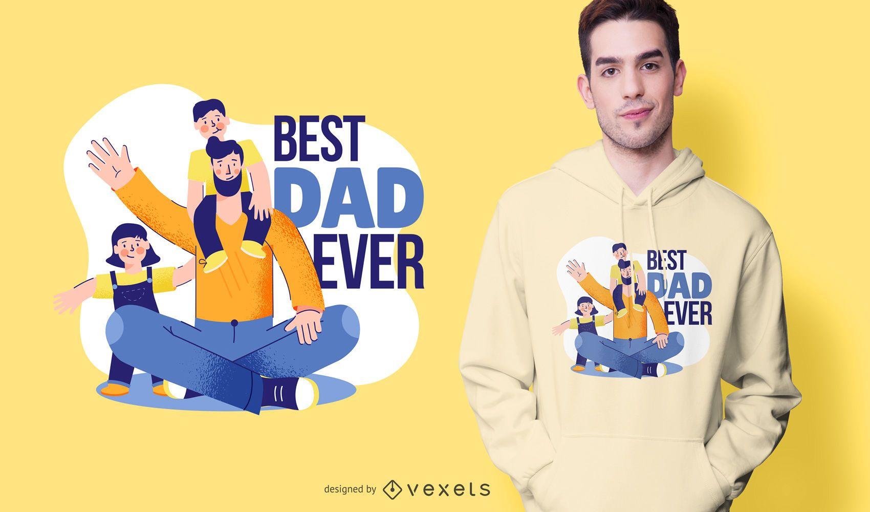 Best Dad Ever Cartoon T-shirt Design