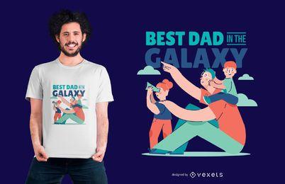 Mejor diseño de camiseta de dibujos animados de cita de papá