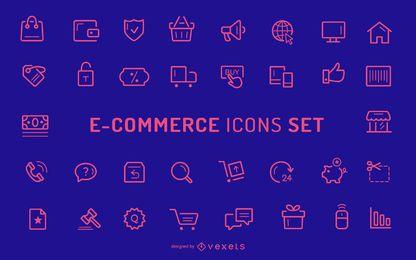 Colección de iconos de trazo de comercio electrónico