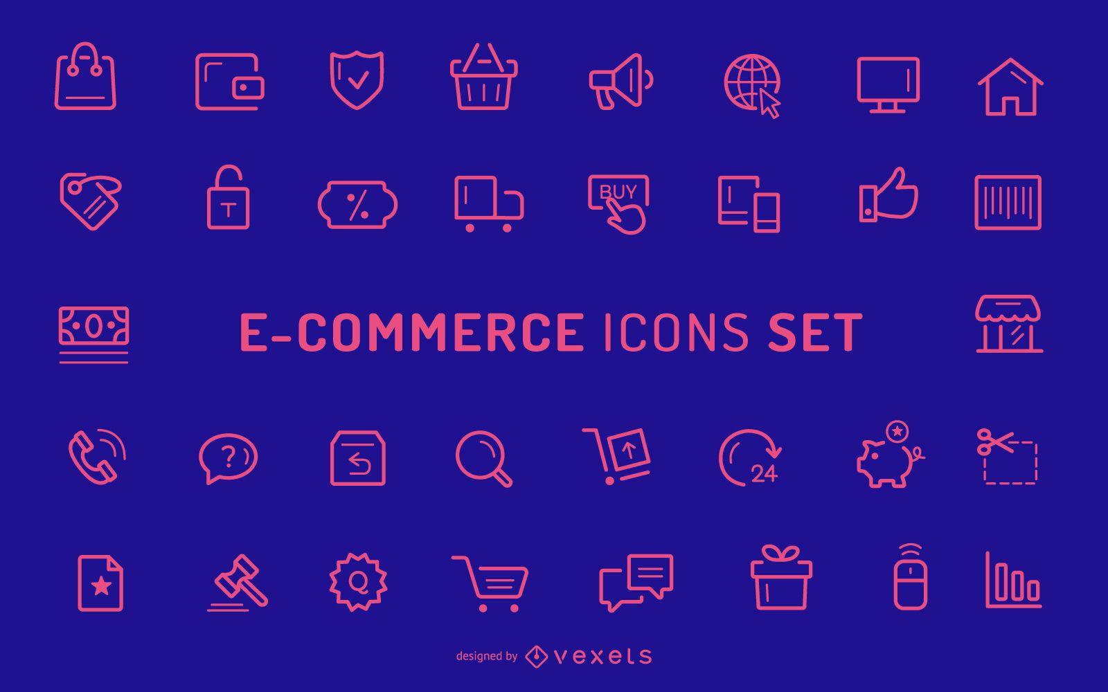 Coleção de ícones de traços de comércio eletrônico