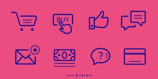 E-Commerce-Schlaganfall-Symbolpaket