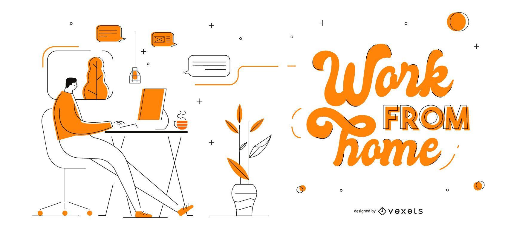 Work From Home Lettering Slider Design