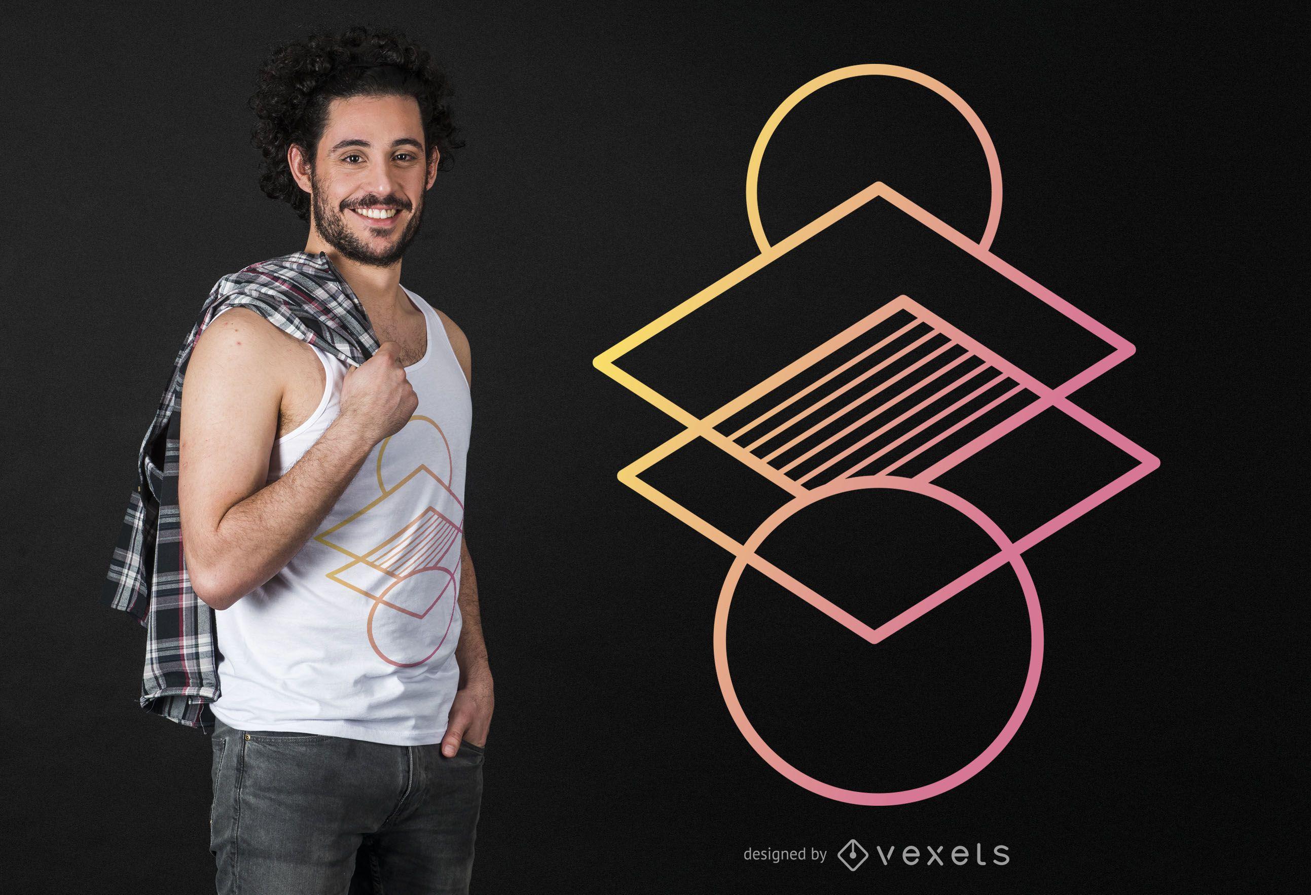 Diseño de camiseta abstracta degradado geométrico