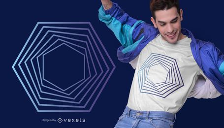 Projeto abstrato do t-shirt do hexágono
