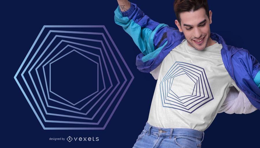 Diseño de camiseta abstracta hexagonal