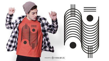 Desenho geométrico de camiseta com traço