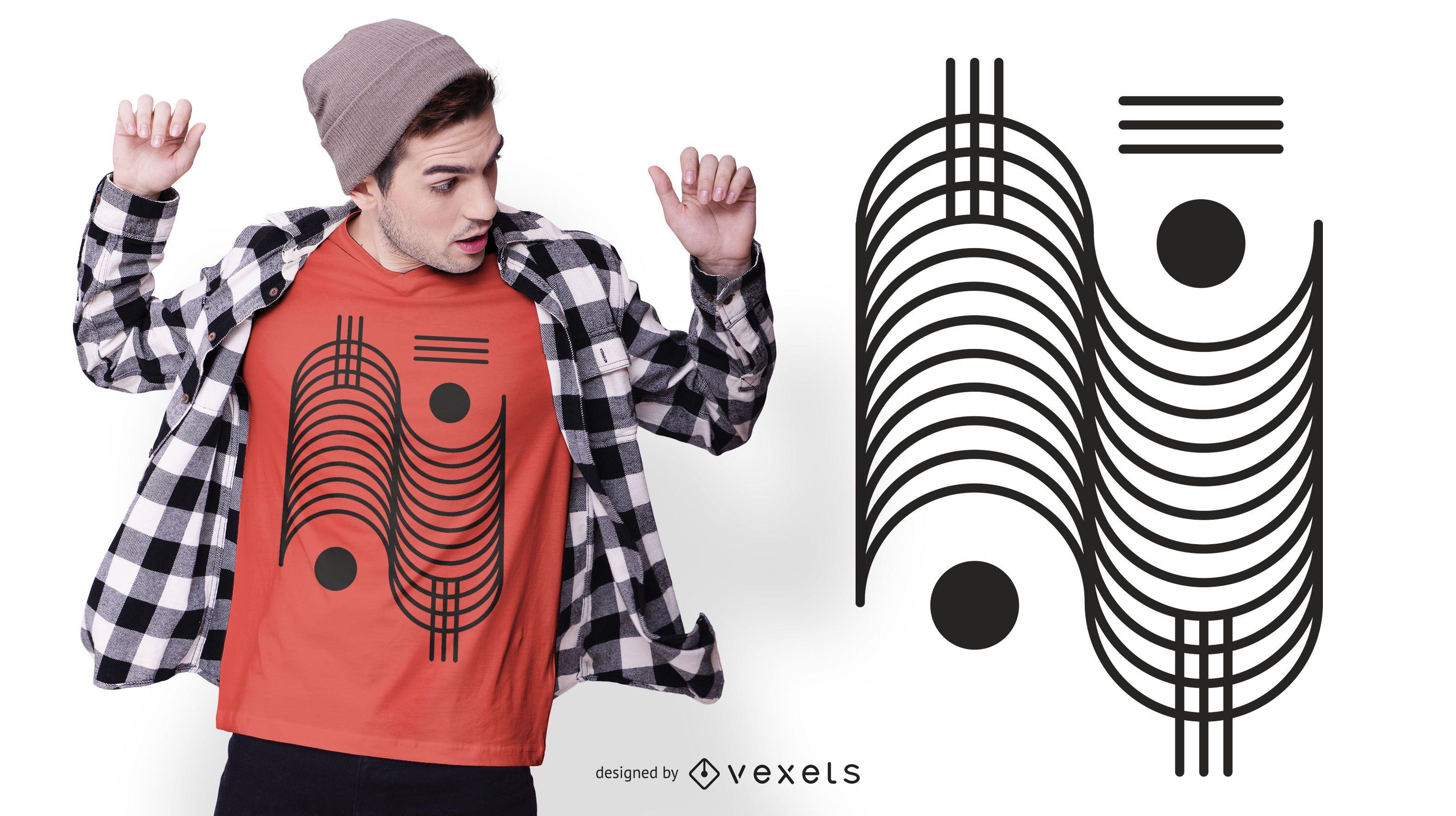 Geometric stroke t-shirt design
