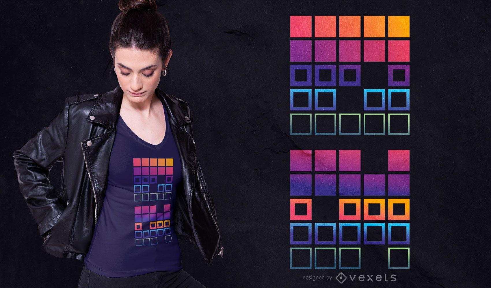 Design t-sirt dos quadrados gradientes