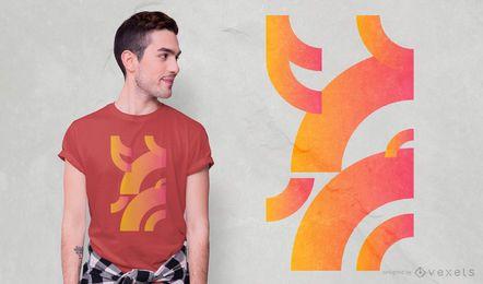 Diseño de camiseta degradado de curvas geométricas