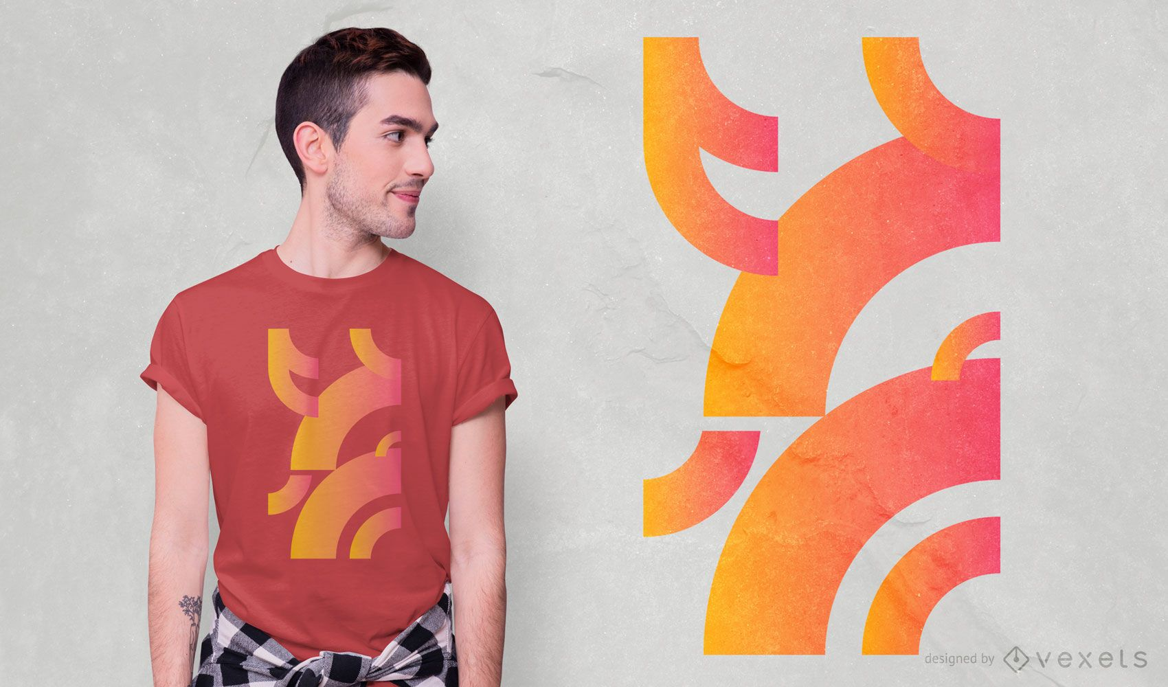 Geometric Curves Gradient T-shirt Design