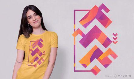 Diseño de camiseta de forma abstracta de ángulo