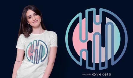 Design de camiseta com formato redondo abstrato gradiente