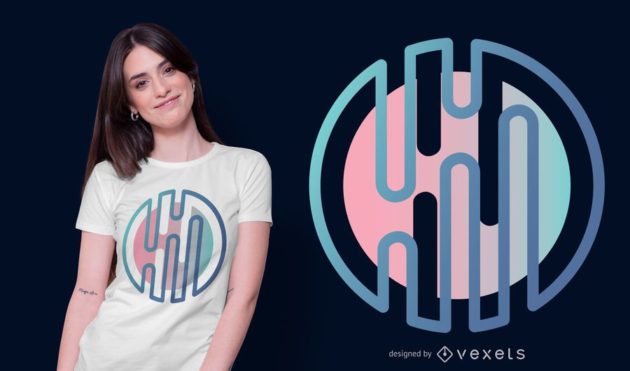 Gradient Abstract Round Shape T-shirt Design
