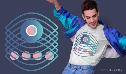 Design abstrato de camiseta com gradiente de olho