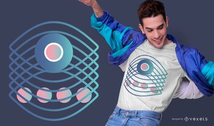 Diseño de camiseta de gradiente de ojo abstracto