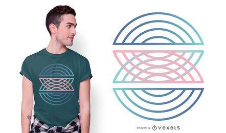 Diseño geométrico de la camiseta del gradiente del semicírculo