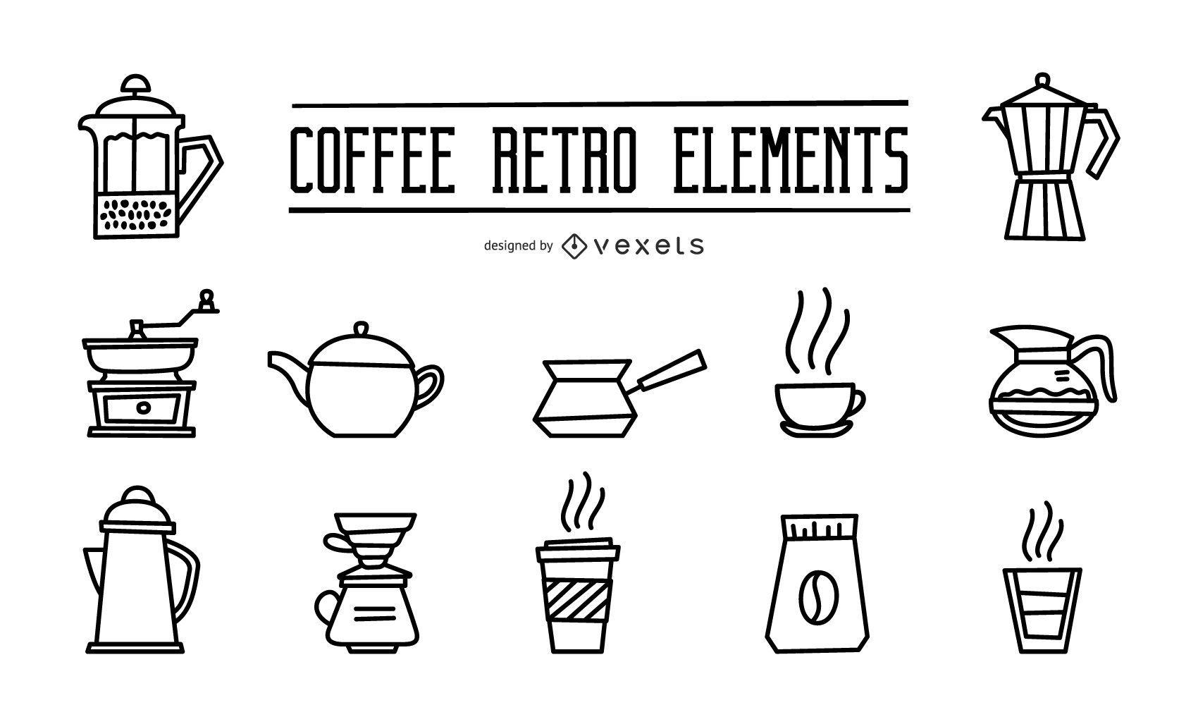 Coffee retro elements stroke set