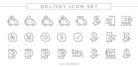 Conjunto de ícones de curso de entrega
