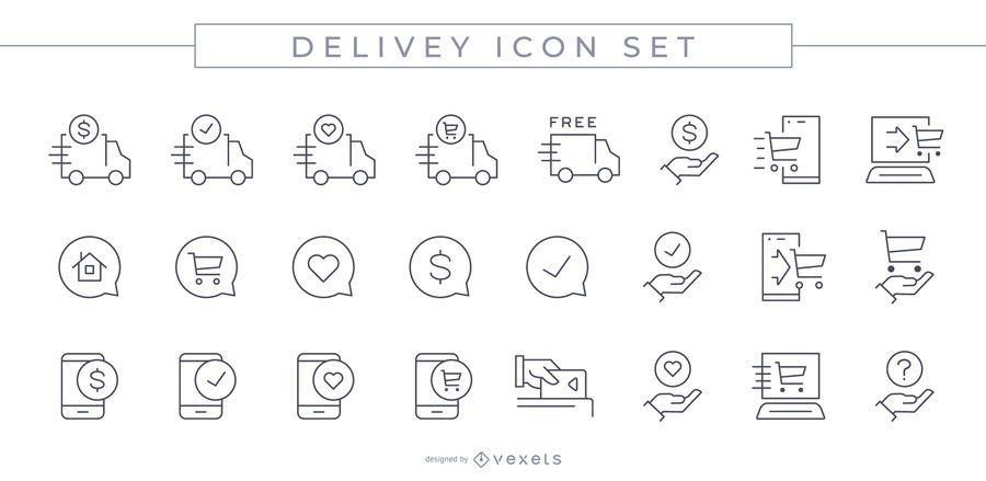 Delivery Stroke Icon Set