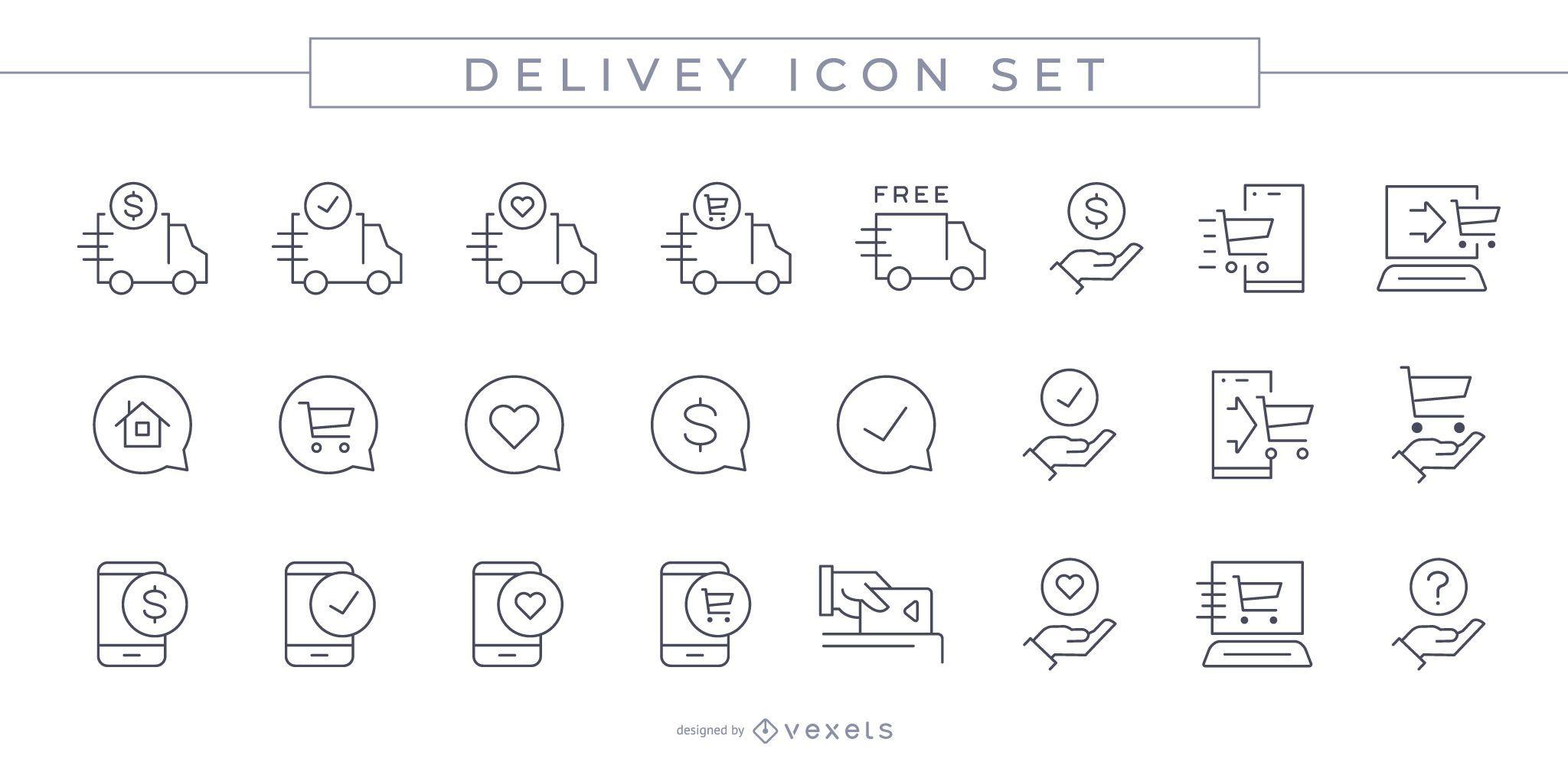 Conjunto de iconos de trazo de entrega
