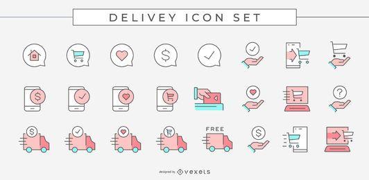 Pacote de ícones coloridos para entrega de negócios