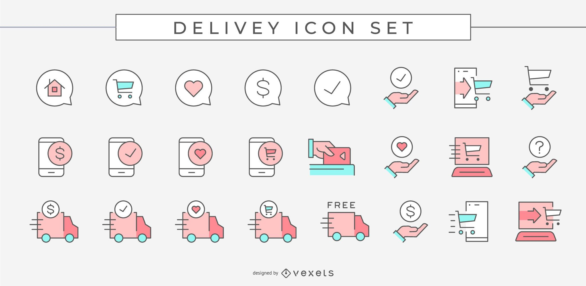 Farbige Lieferung Business Icon Pack